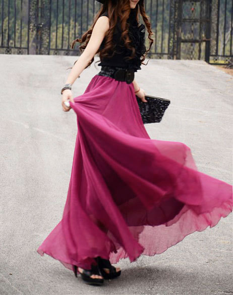 17 Colors Double Silk Chiffon Long Skirt / Summer Skirt/ Maxi ...